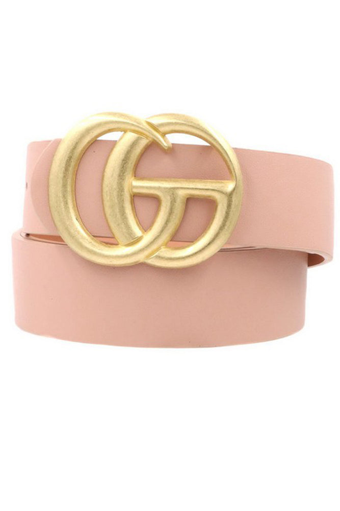 Gold Double G Blush Faux Leather Belt