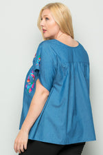 Plus Embroidery Chambray Blouse