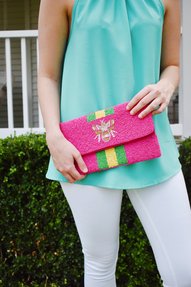 Queen Bee Striped Beaded Clutch Pink