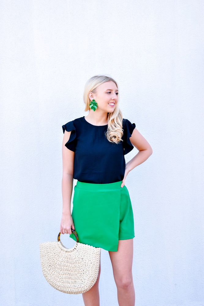 Kelly Green Wrap Shorts