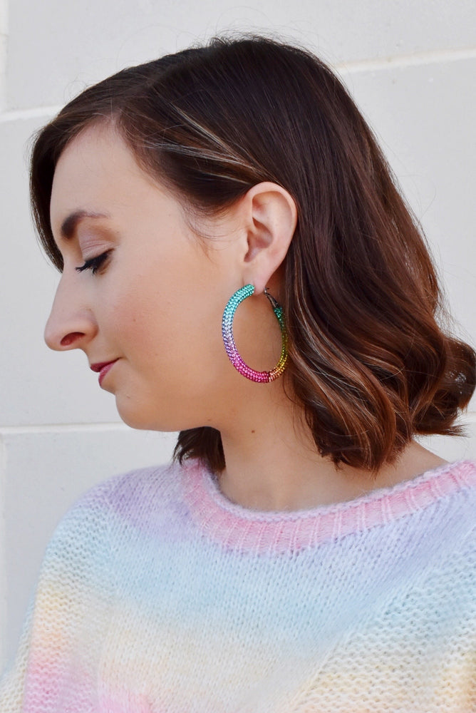 Rainbow Crystal Hoops