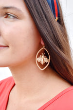 Gold Bee Marquise Earrings