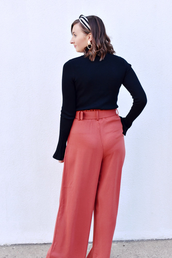 Burnt Orange High Waisted Belted Pants