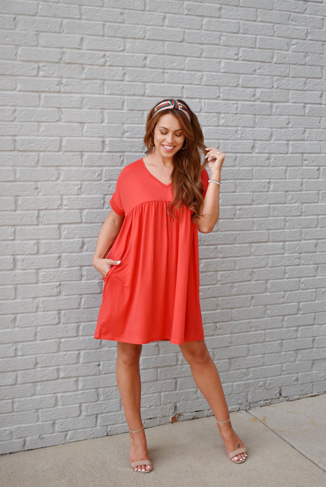 Tangerine Babydoll T-Shirt Dress