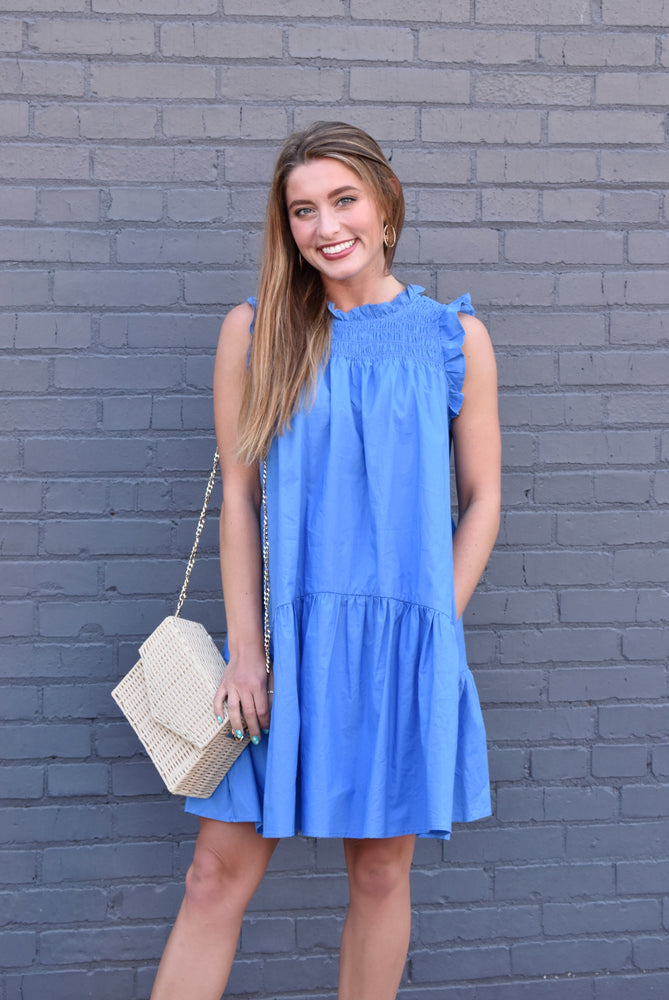 Blue Smocked Babydoll Dress