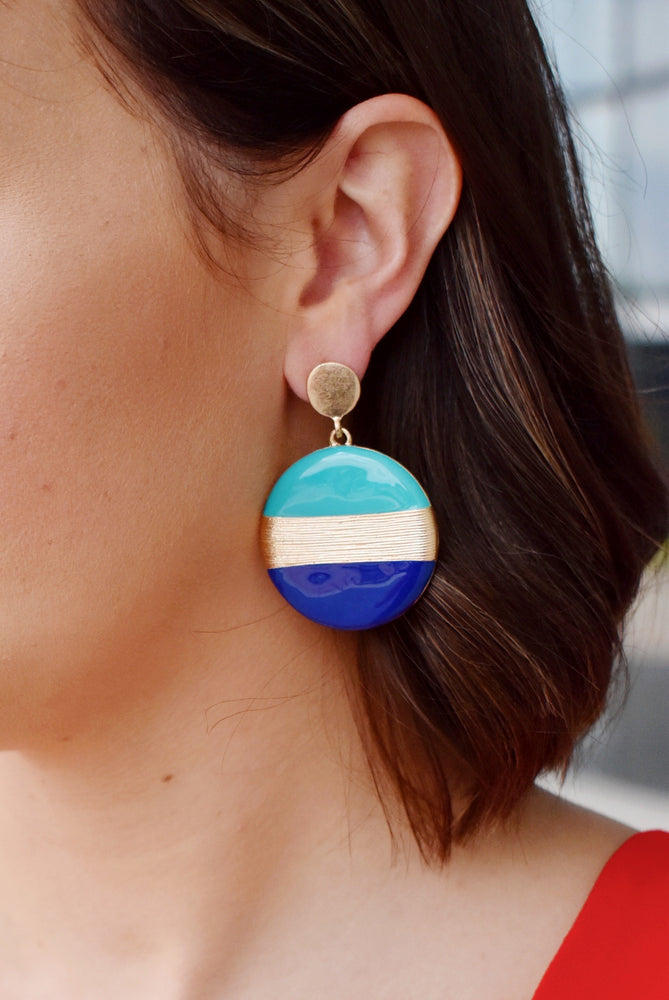 Blue Color Block Disk Earrings