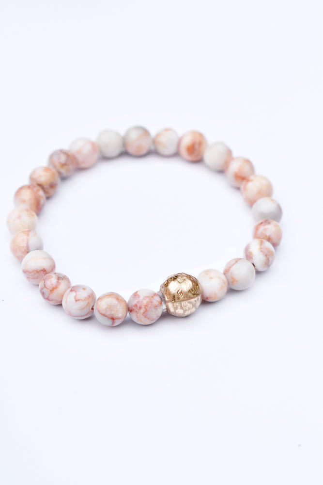 Red Aventurin Stone and Gold Ball Bracelet