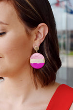 Pink Color Block Disk Earrings