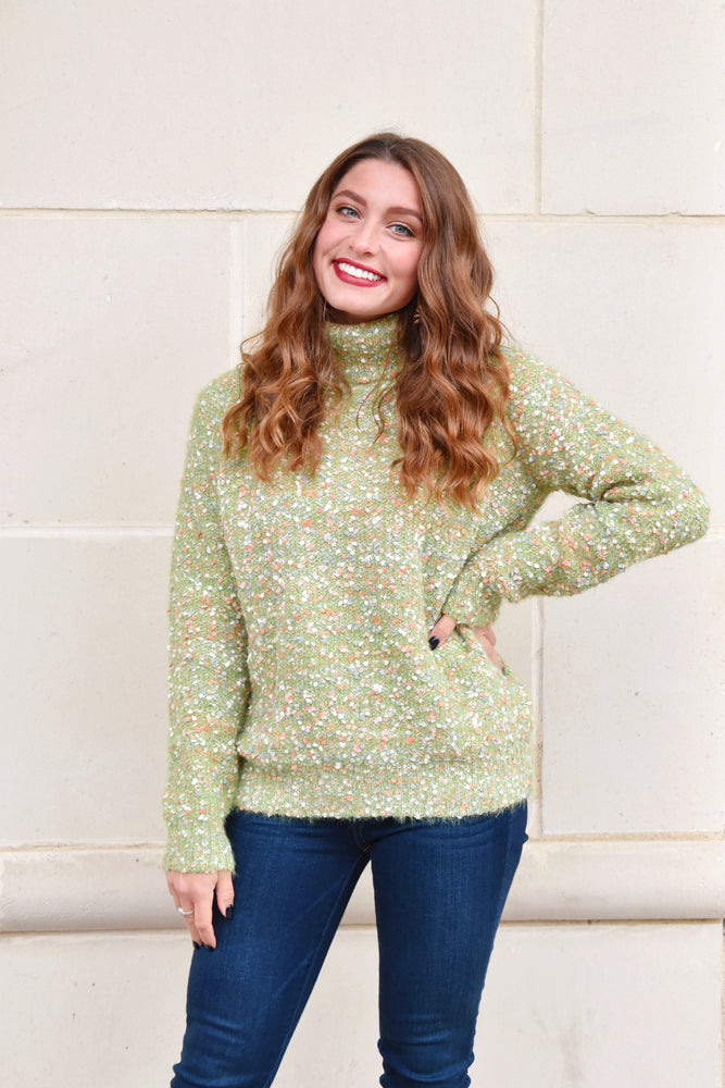 Green Confetti Knit Turtleneck Sweater