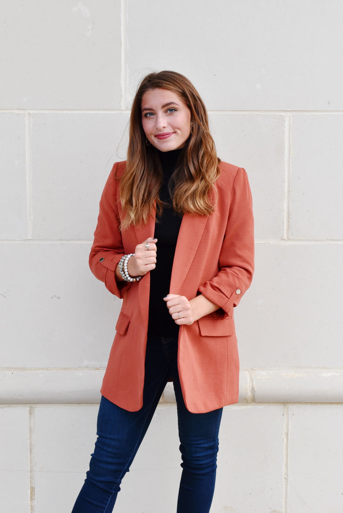 Burnt Orange Oversized Blazer