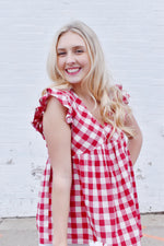 Red Gingham Babydoll Blouse