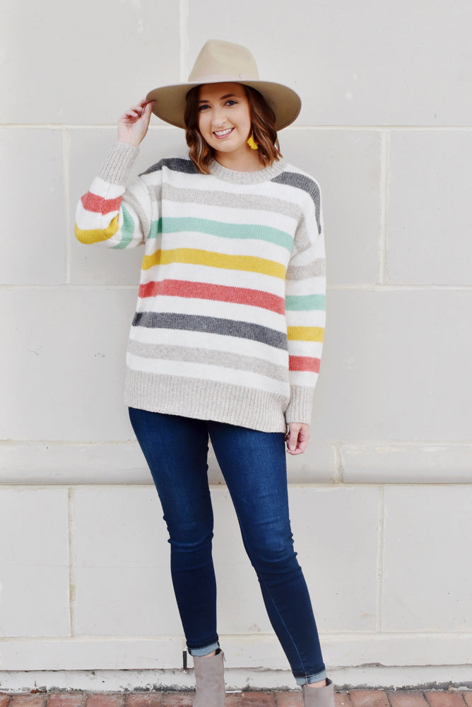 Multi Color Striped Round Neck Sweater