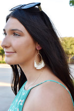 Ivory Teardrop Tassel Earrings
