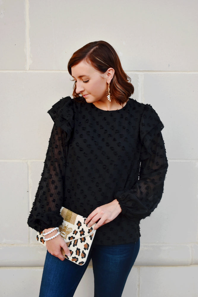 Black Ruffle Shoulder Dotted Blouse