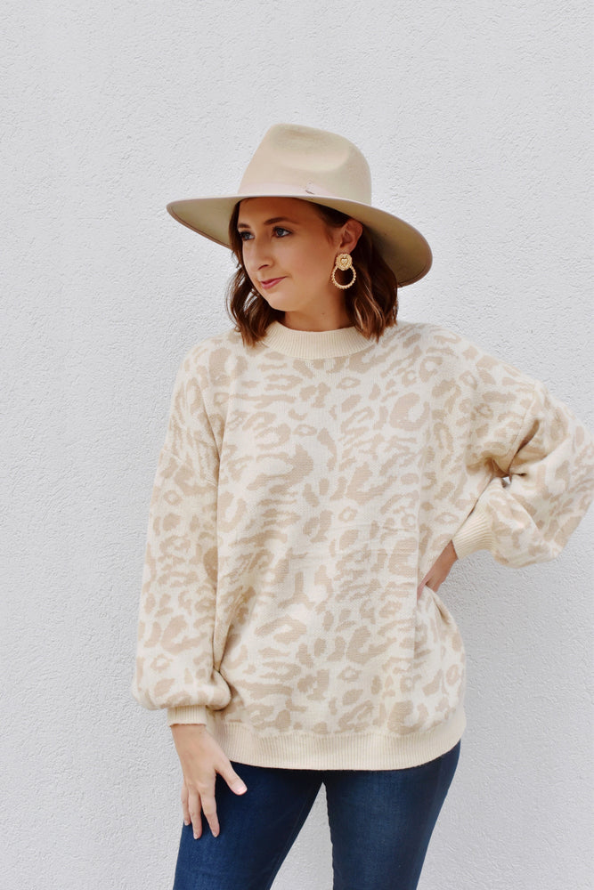 Taupe Leopard Print Balloon Sleeve Sweater