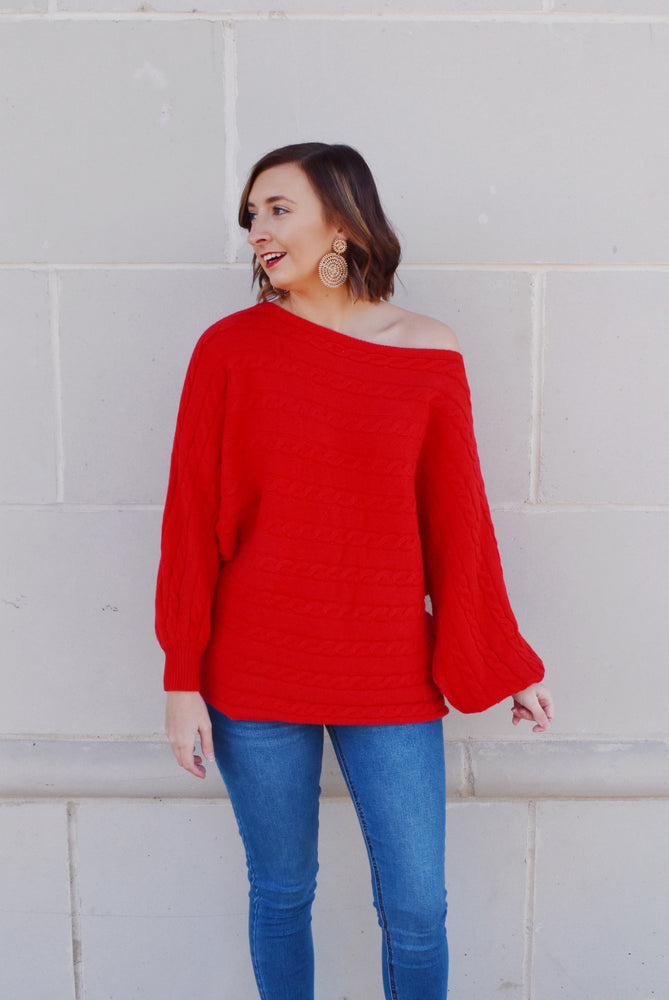 Red Cable Knit Detail Dolman Sweater