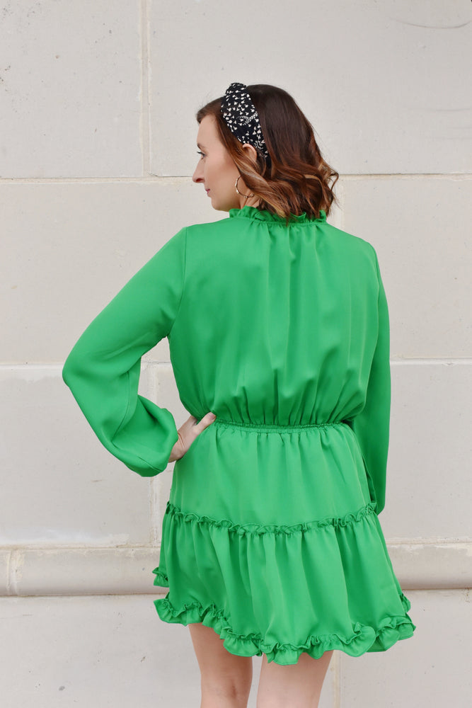 Kelly Green Ruffle Trim Dress