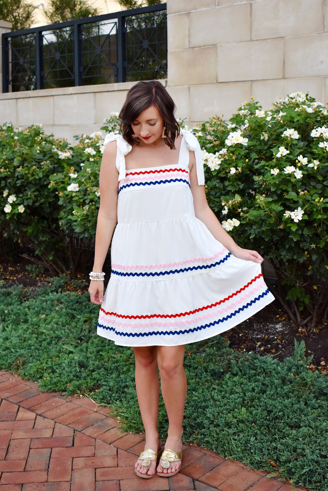 White Ric Rac Tie Shoulder Dress