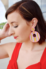 Bead Row Circle Earrings