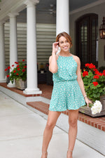 Green Polka Dotted Romper