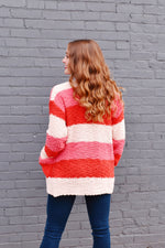 Pink & Red Colorblock Popcorn Cardigan
