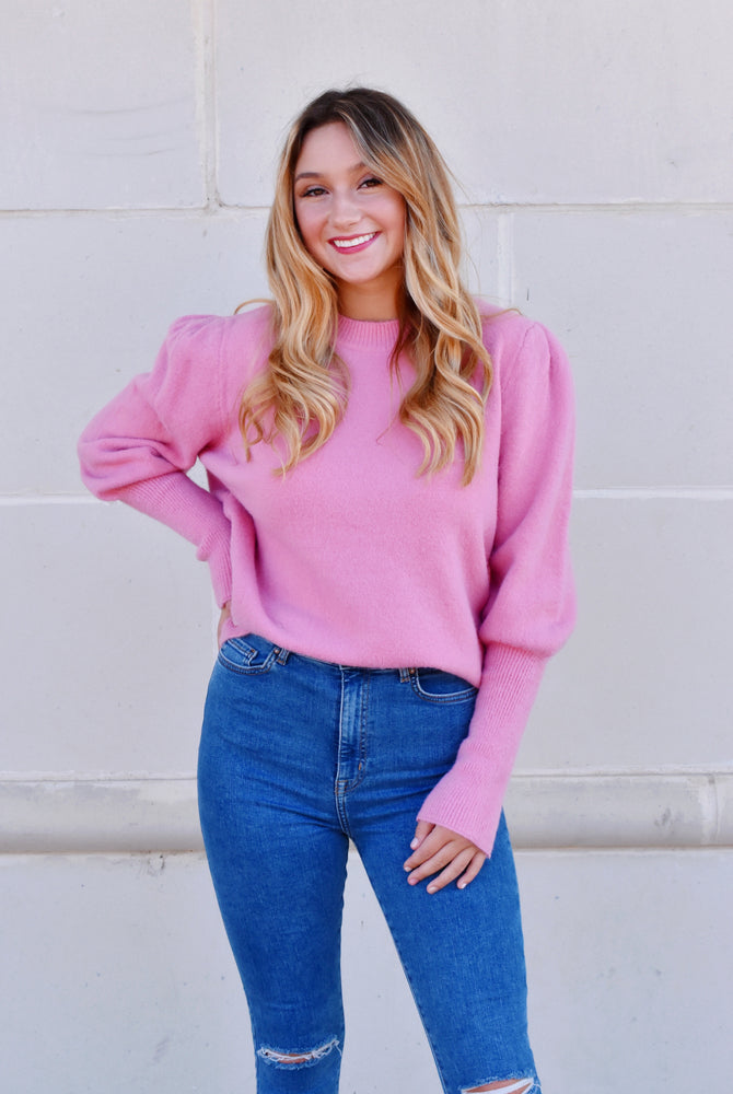 Bubblegum Pink Puff Sleeve Sweater