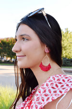 Red Teardrop Tassel Earrings