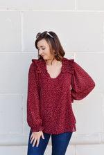 Burgundy Leopard Ruffle Shoulder Blouse