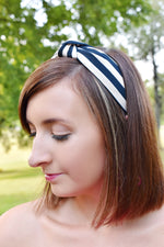 Navy and White Striped Headband