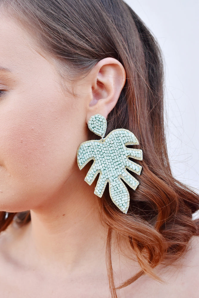 Mint Beaded Leaf Earrings