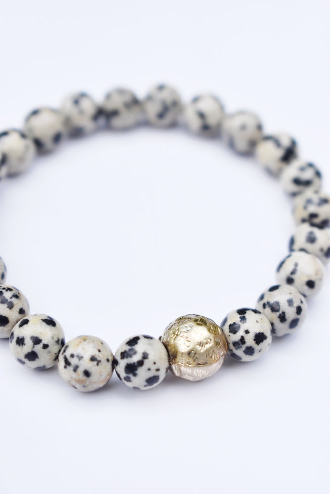 Dalmatian Stone and Gold Ball Bracelet