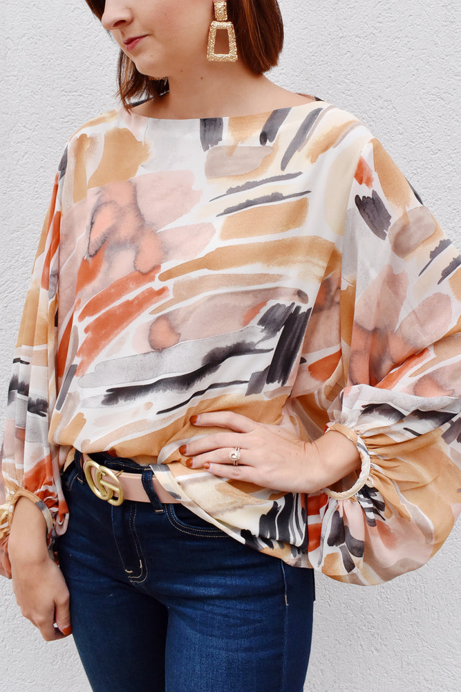 Watercolor Balloon Sleeve Blouse