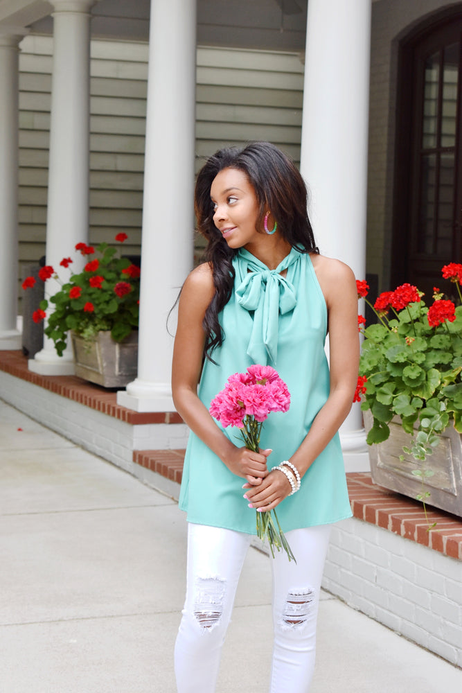 Mint High Neck Top With Bow