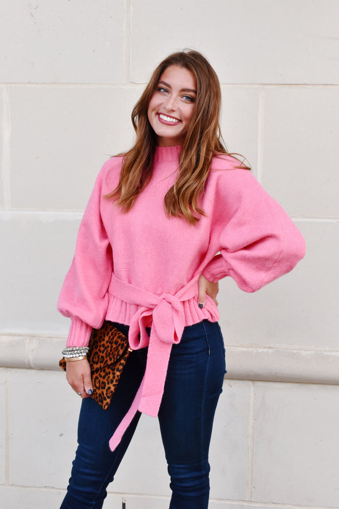 Pink Balloon Sleeve Sweater With Tie