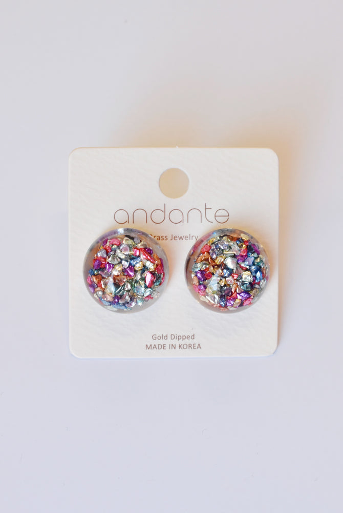 Confetti Flake Dome Stud Earrings