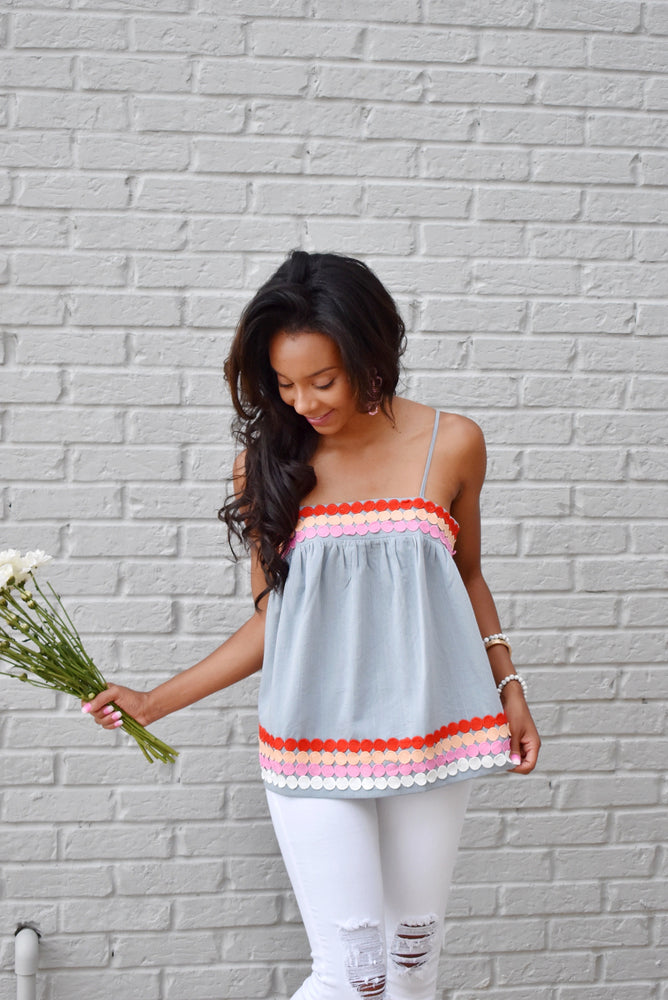 Chambray Dot Trim Embroidery Top