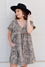 Leopard Babydoll Dress With Pockets