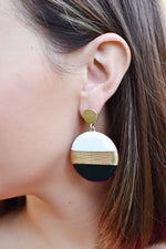 Black Color Block Disk Earrings