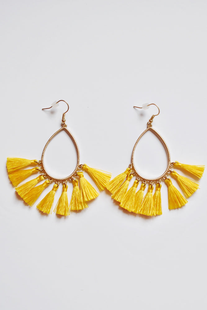 Yellow Teardrop Tassel Earrings
