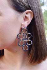 Navy Infinity Knot Seed Bead Earrings