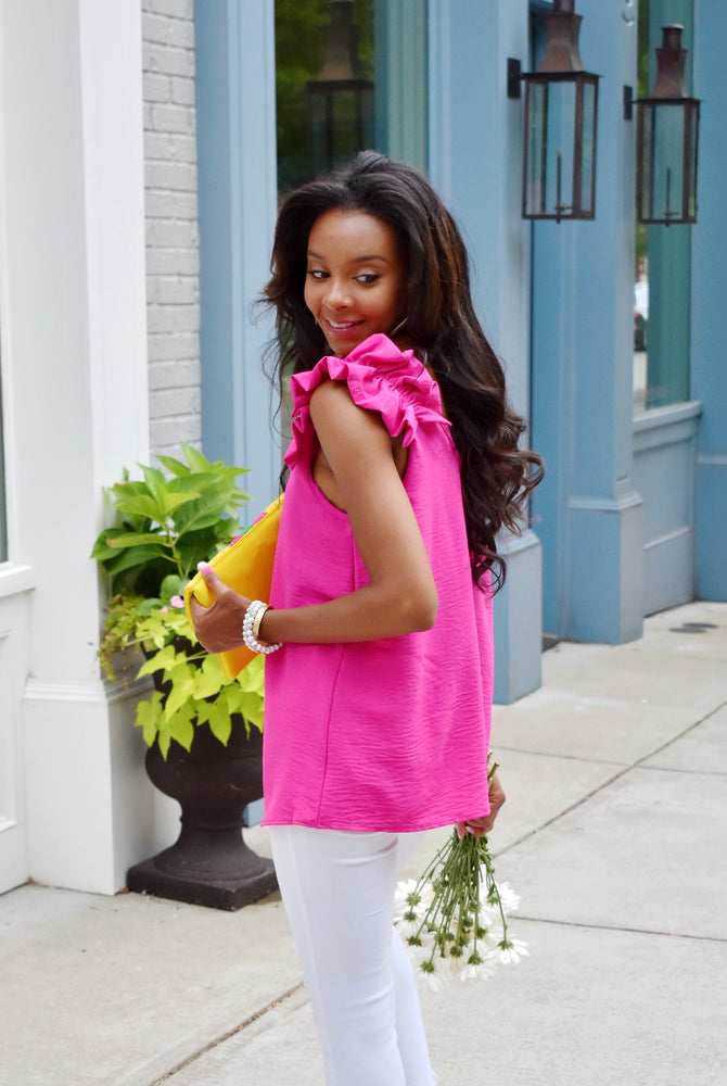 Hot Pink Ruffle Shoulder Tank