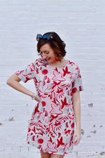 Red Watercolor Printed Shift Dress