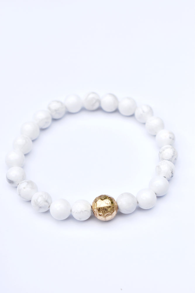 White Stone and Gold Ball Bracelet