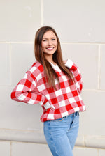 Red & White Gingham Sweater