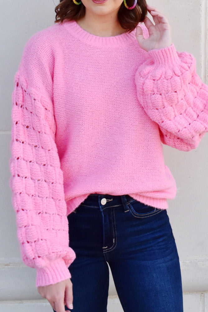 Pink Bubble Sleeve Sweater