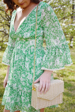 Green Floral Bell Sleeve Dress