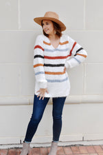Multi Color Stripe V-Neck Fuzzy Sweater