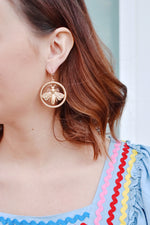 Gold Bee Circle Earrings