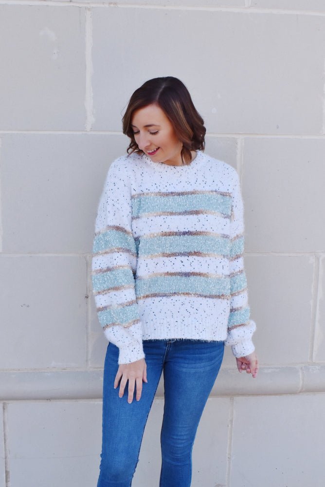 Mint To Be Striped Speckled Sweater