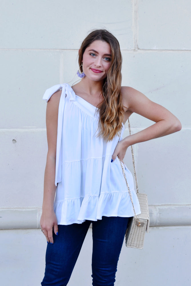 White Bow Shoulder Blouse
